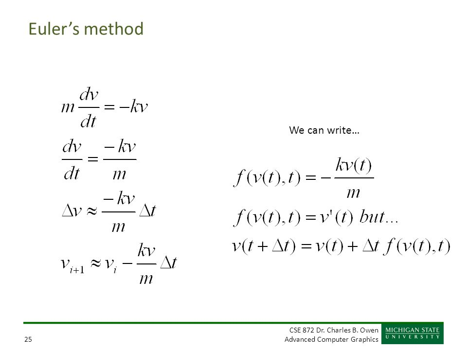 Euler's method We can write…