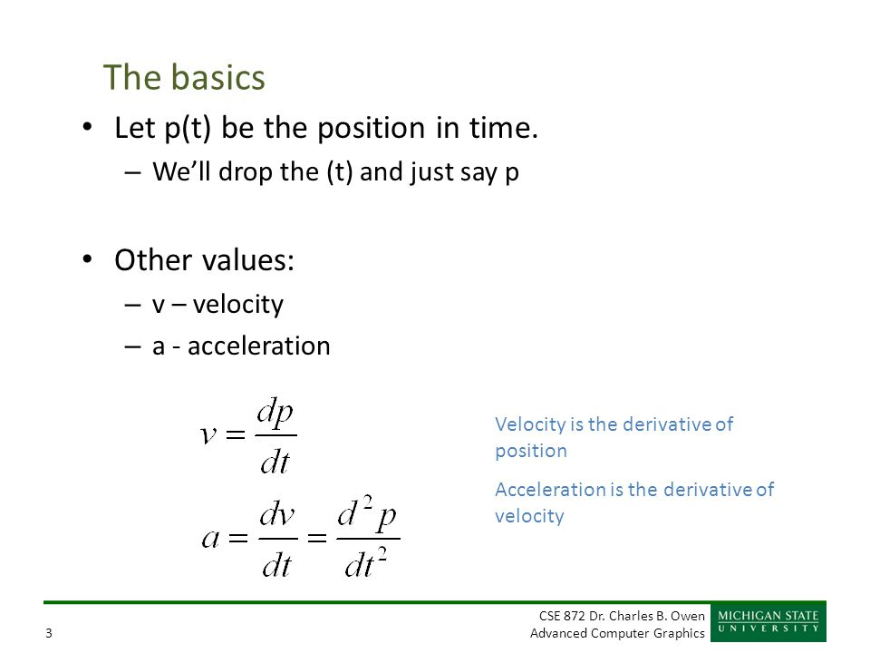 The basics Let p(t) be the position in time. Other values: