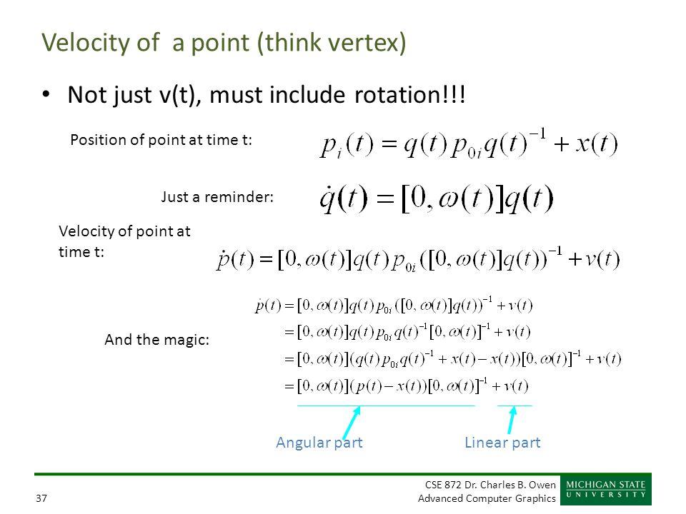 Velocity of a point (think vertex)
