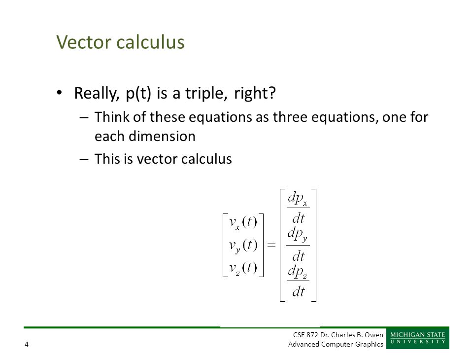 Vector calculus Really, p(t) is a triple, right