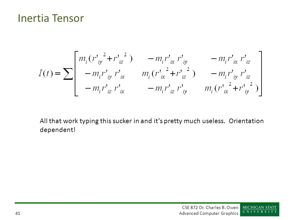 Inertia Tensor All that work typing this sucker in and it's pretty much useless.