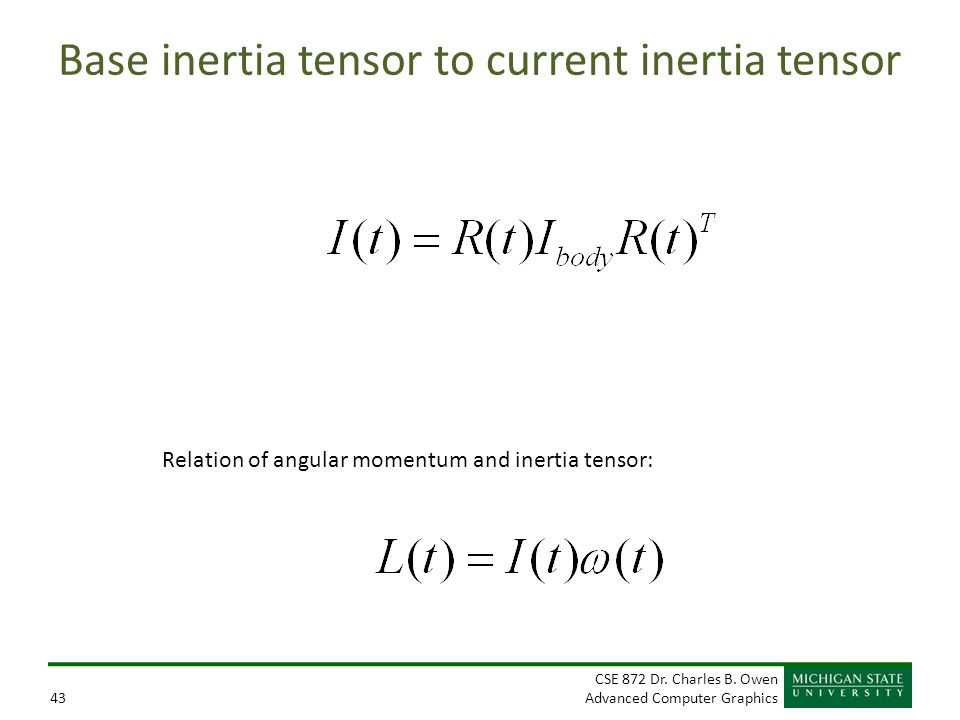Base inertia tensor to current inertia tensor