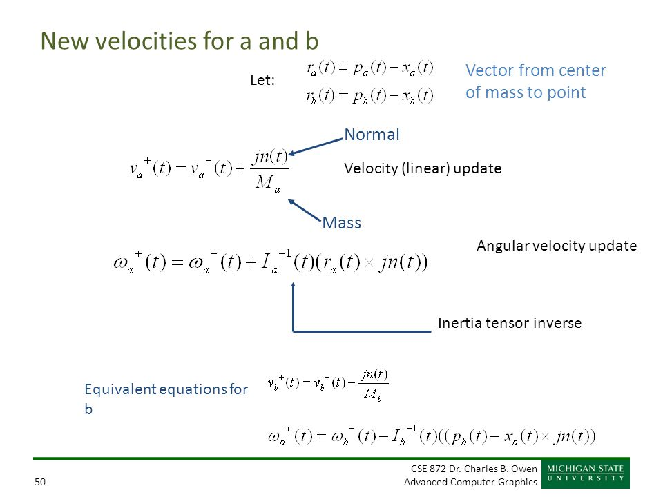 New velocities for a and b