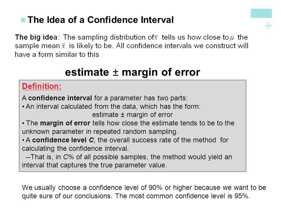 estimate ± margin of error