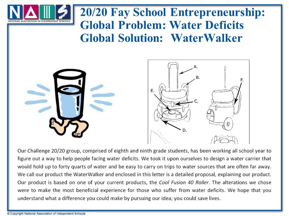 20/20 Fay School Entrepreneurship: Global Problem: Water Deficits Global Solution: WaterWalker