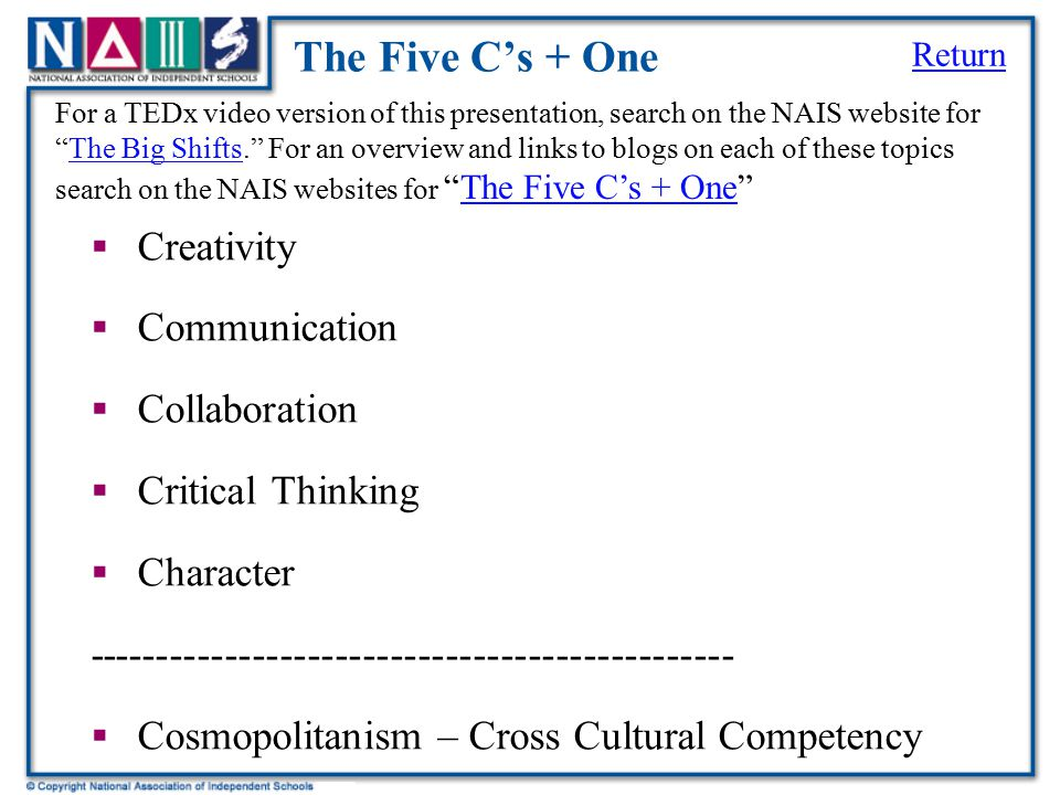 The Five C's + One Creativity Communication Collaboration