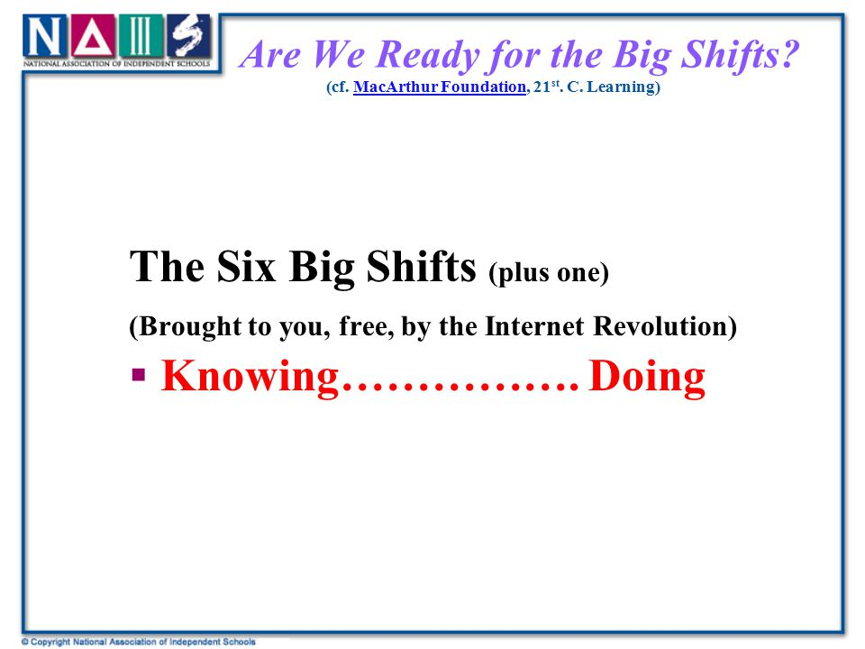 The Six Big Shifts (plus one) Knowing……………. Doing