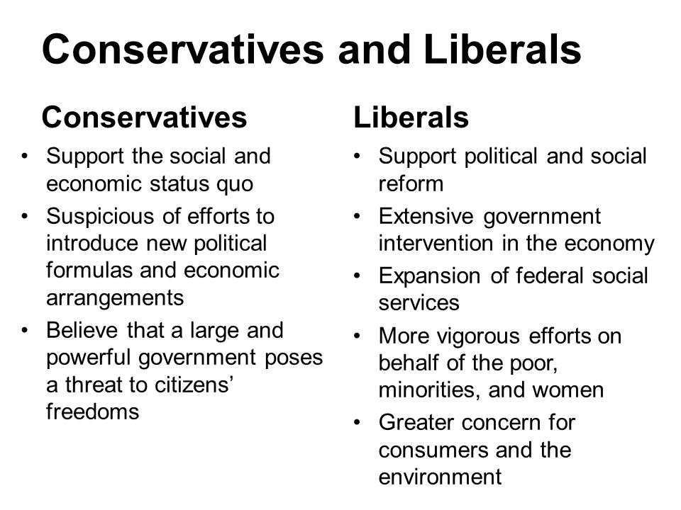 Conservatives and Liberals