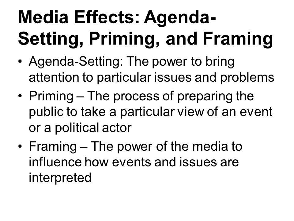 Media Effects: Agenda-Setting, Priming, and Framing