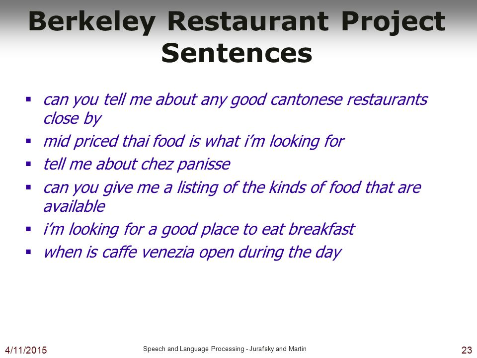 Berkeley Restaurant Project Sentences