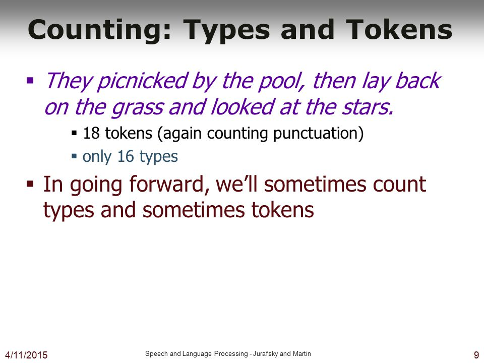 Counting: Types and Tokens