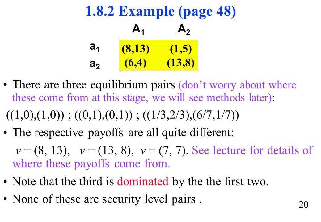1.8.2 Example (page 48) (8,13) (1,5) (6,4) (13,8) A1. A2. a1. a2.