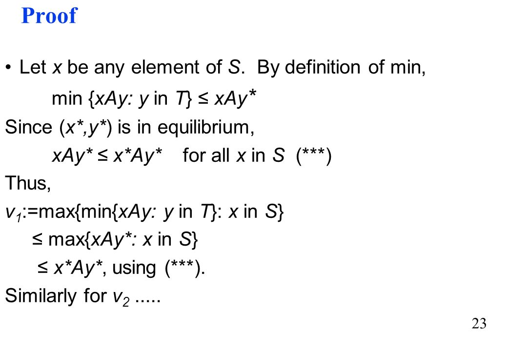 Proof Let x be any element of S. By definition of min,