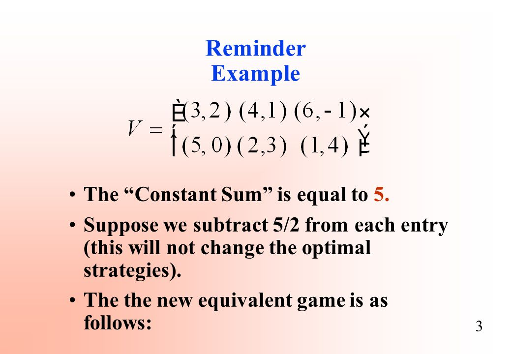 Reminder Example The Constant Sum is equal to 5.