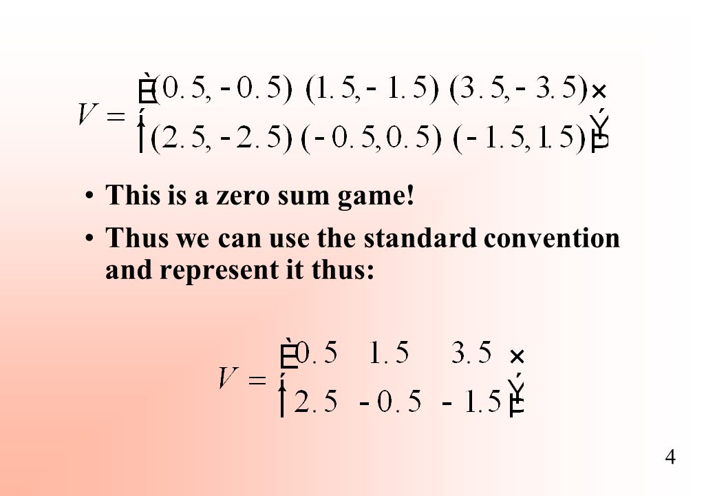 This is a zero sum game! Thus we can use the standard convention and represent it thus: