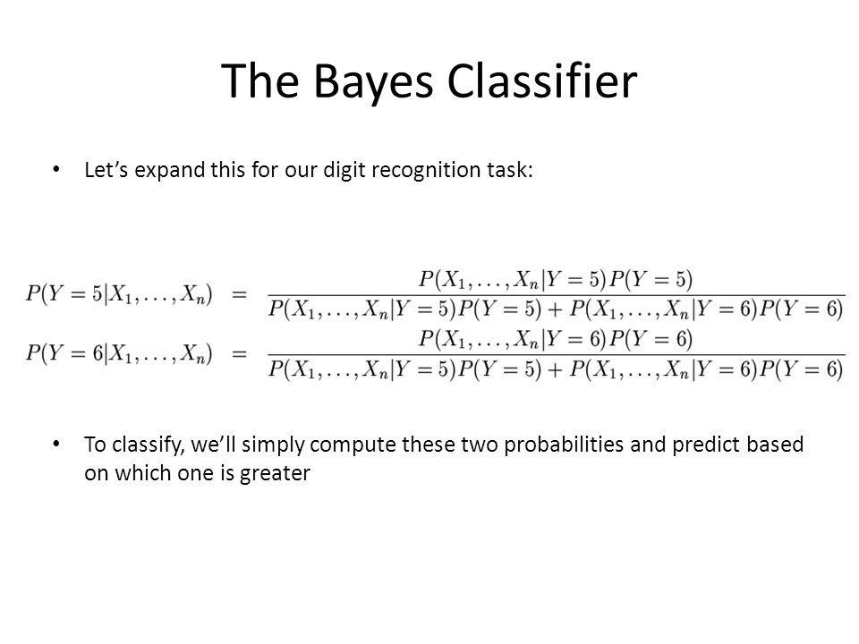 The Bayes Classifier Let's expand this for our digit recognition task: