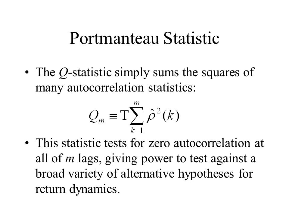 Portmanteau Statistic