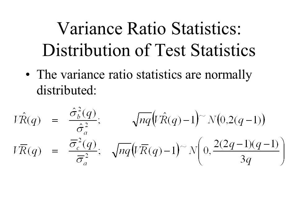 Variance Ratio Statistics: Distribution of Test Statistics