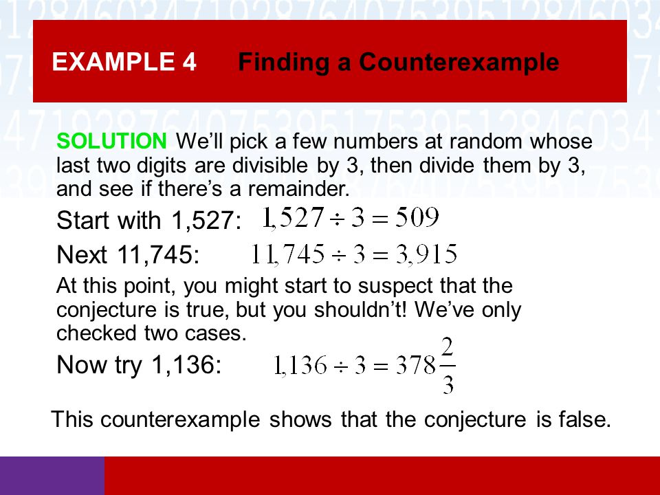 EXAMPLE 4 Finding a Counterexample
