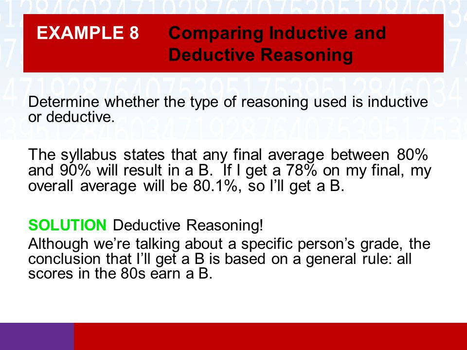 EXAMPLE 8 Comparing Inductive and Deductive Reasoning