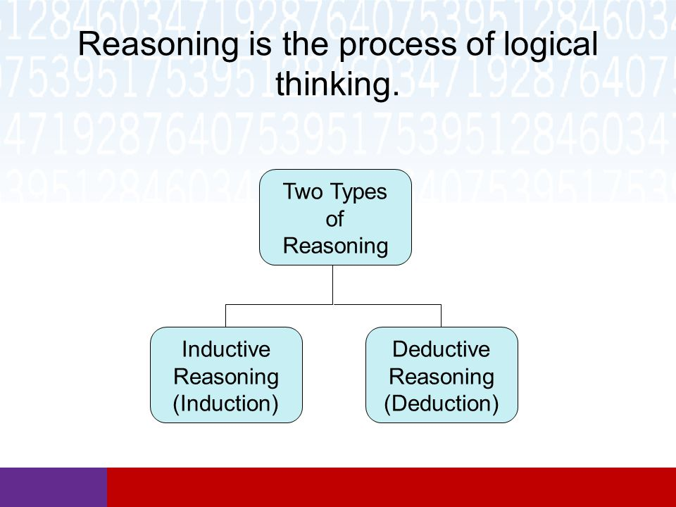 Reasoning is the process of logical thinking.