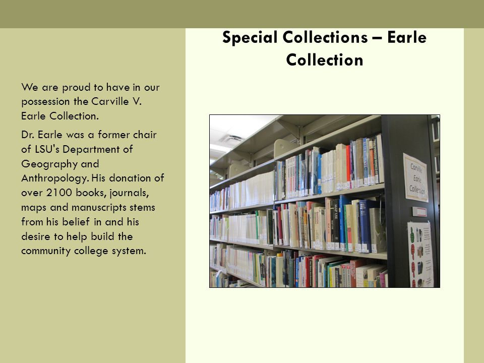 Special Collections – Earle Collection