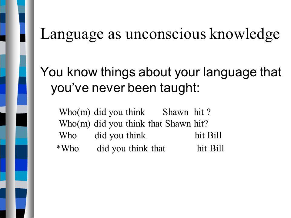 Language as unconscious knowledge