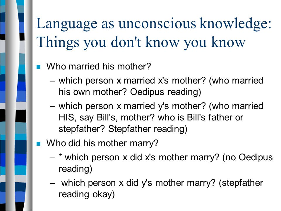 Language as unconscious knowledge: Things you don t know you know