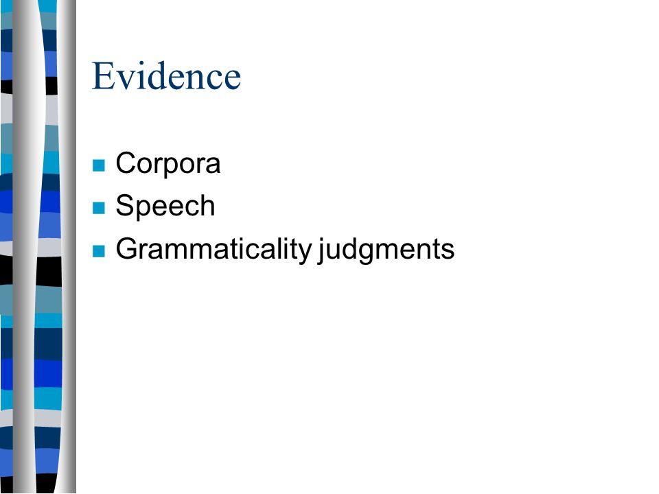 Evidence Corpora Speech Grammaticality judgments