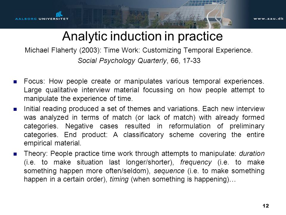 Analytic induction in practice