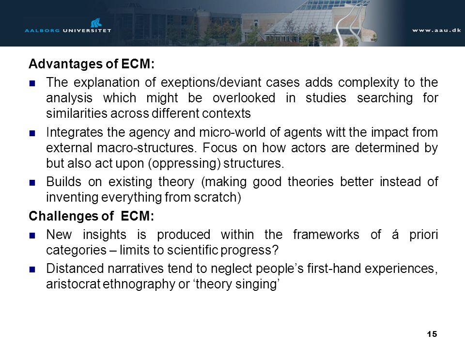 Advantages of ECM: