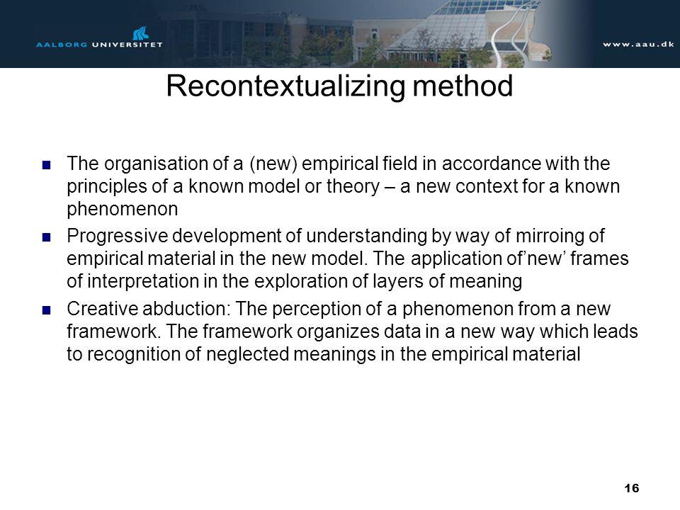Recontextualizing method