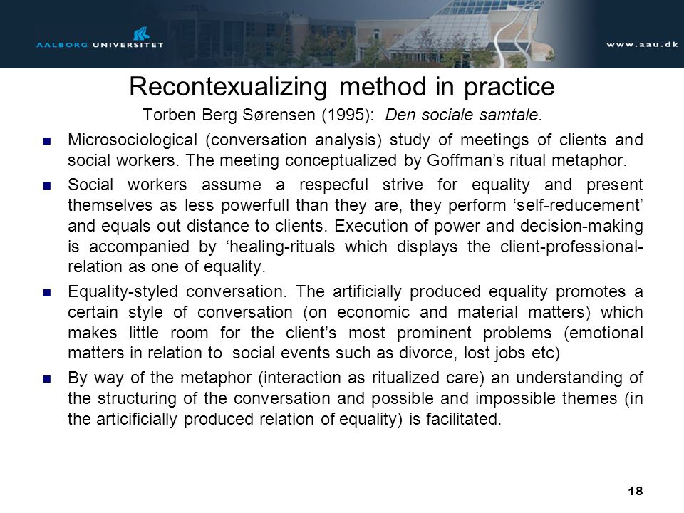 Recontexualizing method in practice