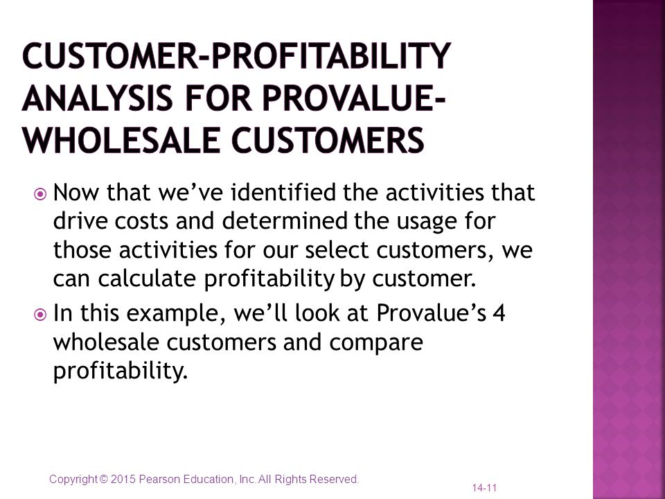 Customer-profitability analysis for provalue- wholesale customers
