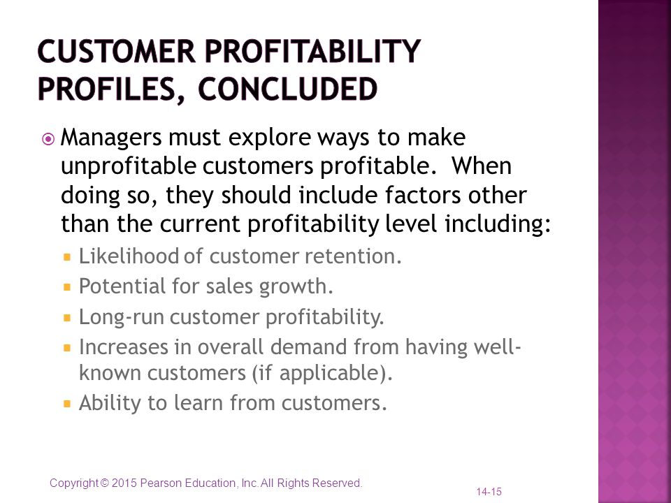Customer profitability profiles, concluded