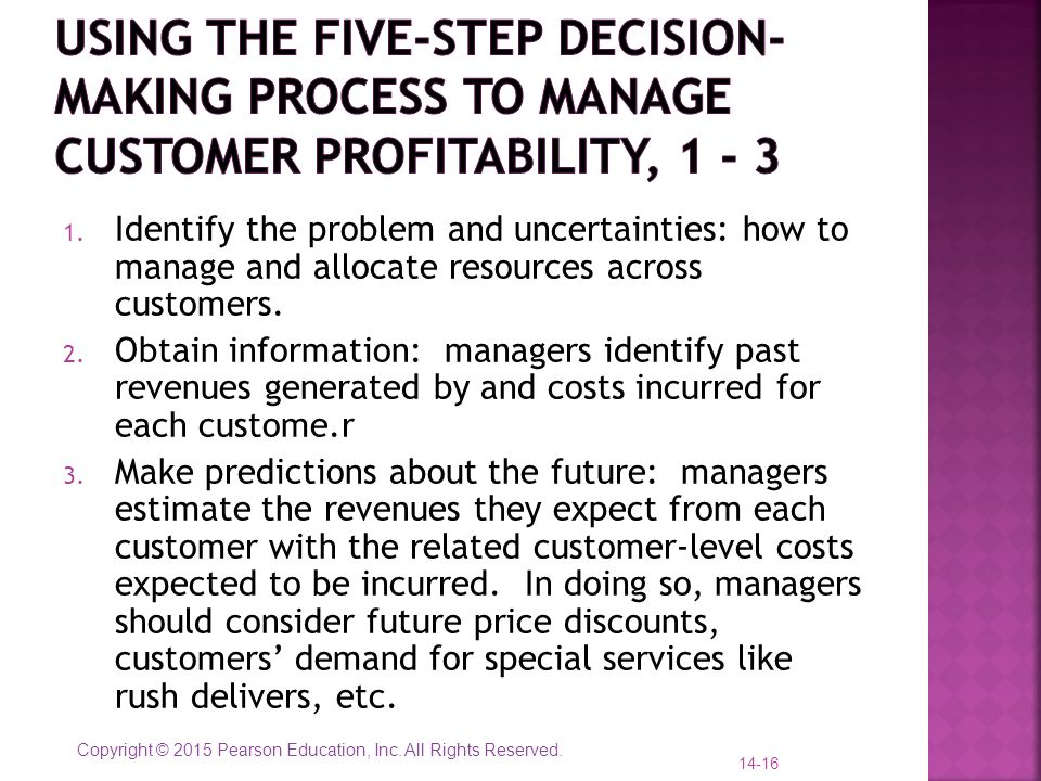 Using the five-step decision-making process to manage customer profitability, 1 - 3