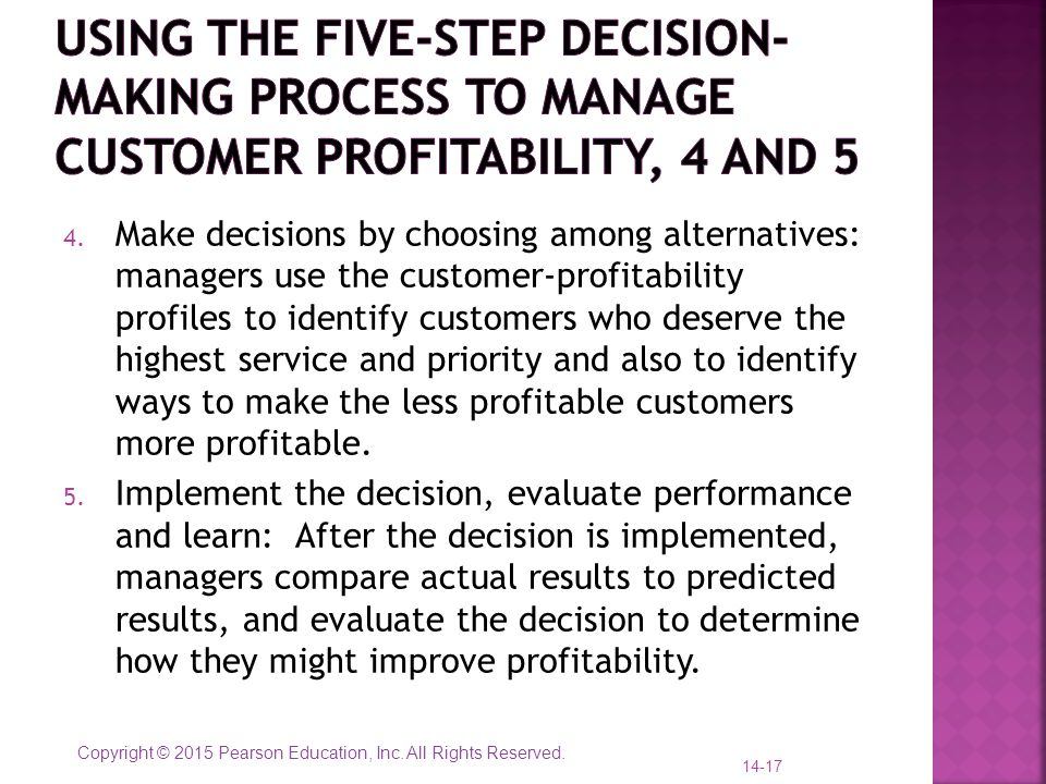 Using the five-step decision-making process to manage customer profitability, 4 and 5