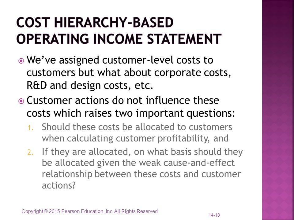 Cost hierarchy-based operating income statement