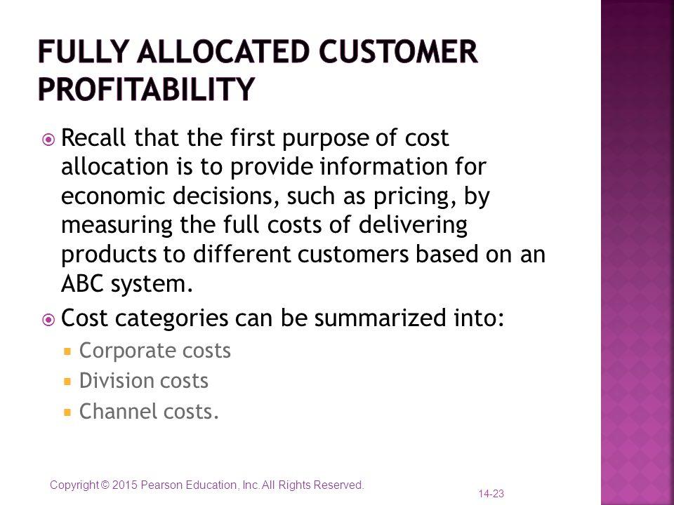 Fully allocated customer profitability