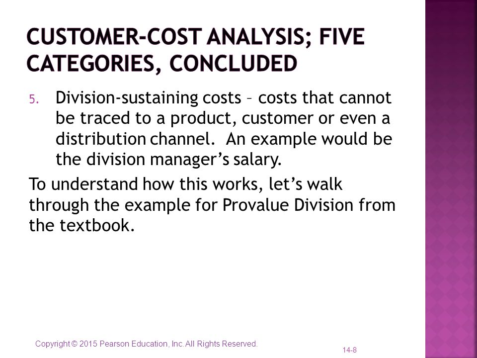 Customer-cost analysis; five categories, concluded