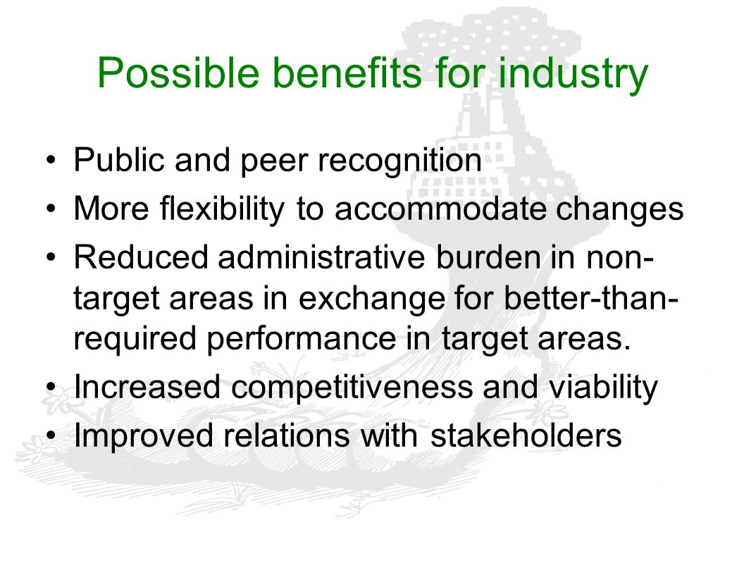 Possible benefits for industry