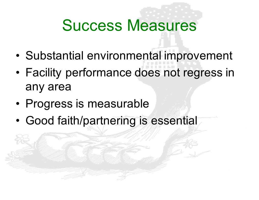 Success Measures Substantial environmental improvement
