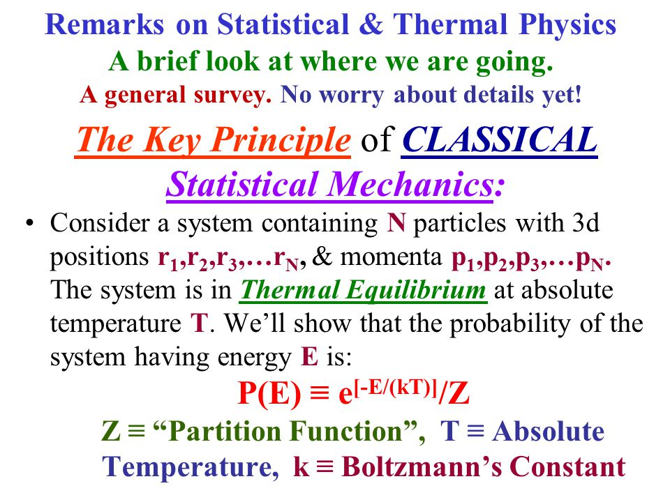 Statistical Mechanics: