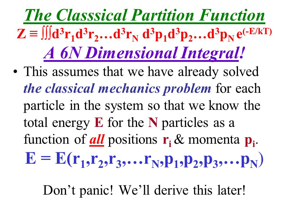 The Classsical Partition Function A 6N Dimensional Integral!