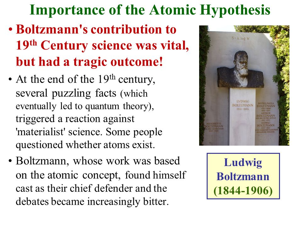 Importance of the Atomic Hypothesis