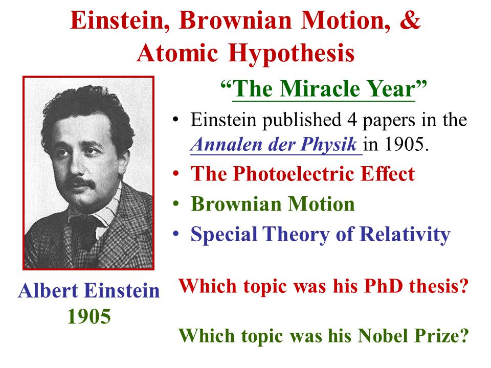 Einstein, Brownian Motion, & Atomic Hypothesis