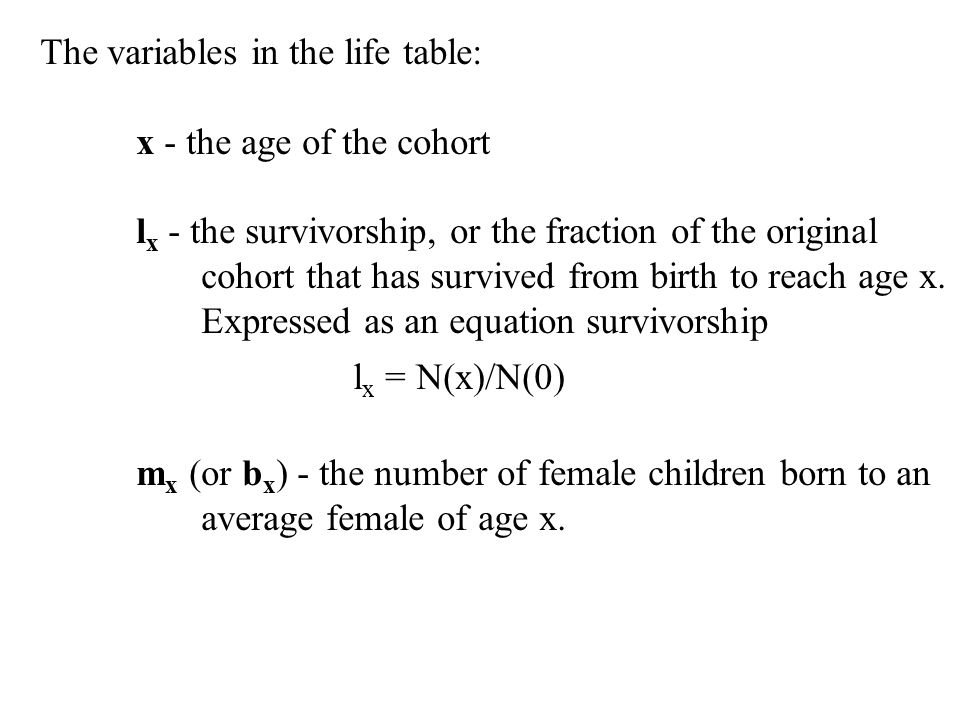 The variables in the life table: