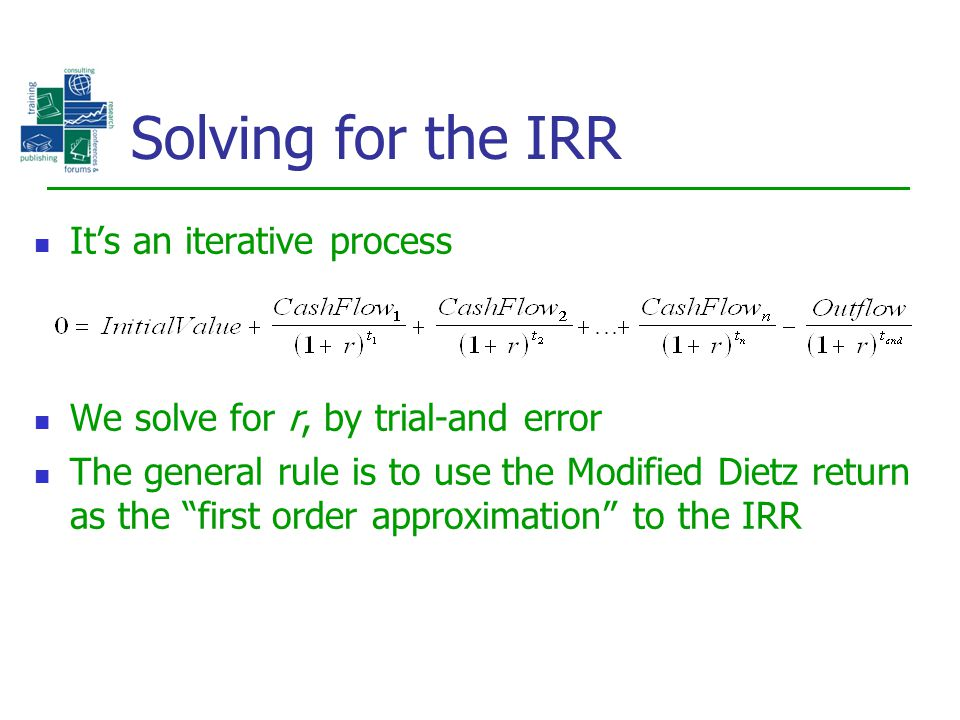 Solving for the IRR It's an iterative process