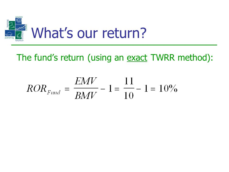 What's our return The fund's return (using an exact TWRR method):