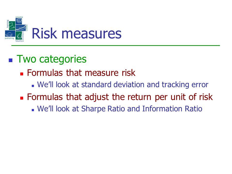 Risk measures Two categories Formulas that measure risk